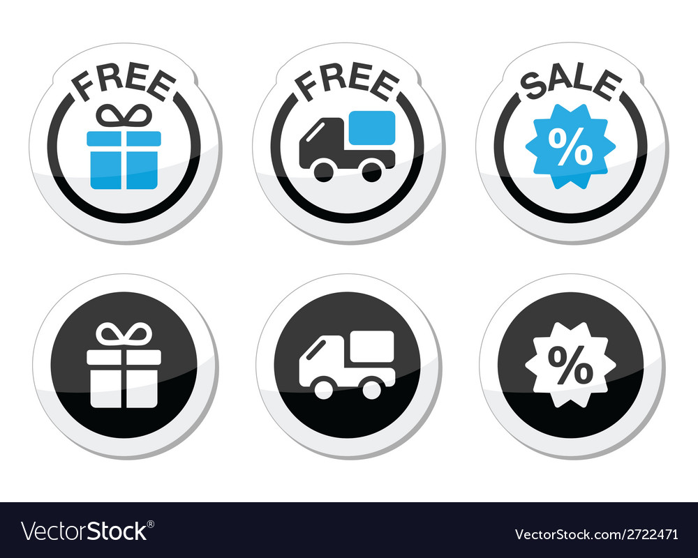 Free gift free delivery sale labels set vector | Price: 1 Credit (USD $1)