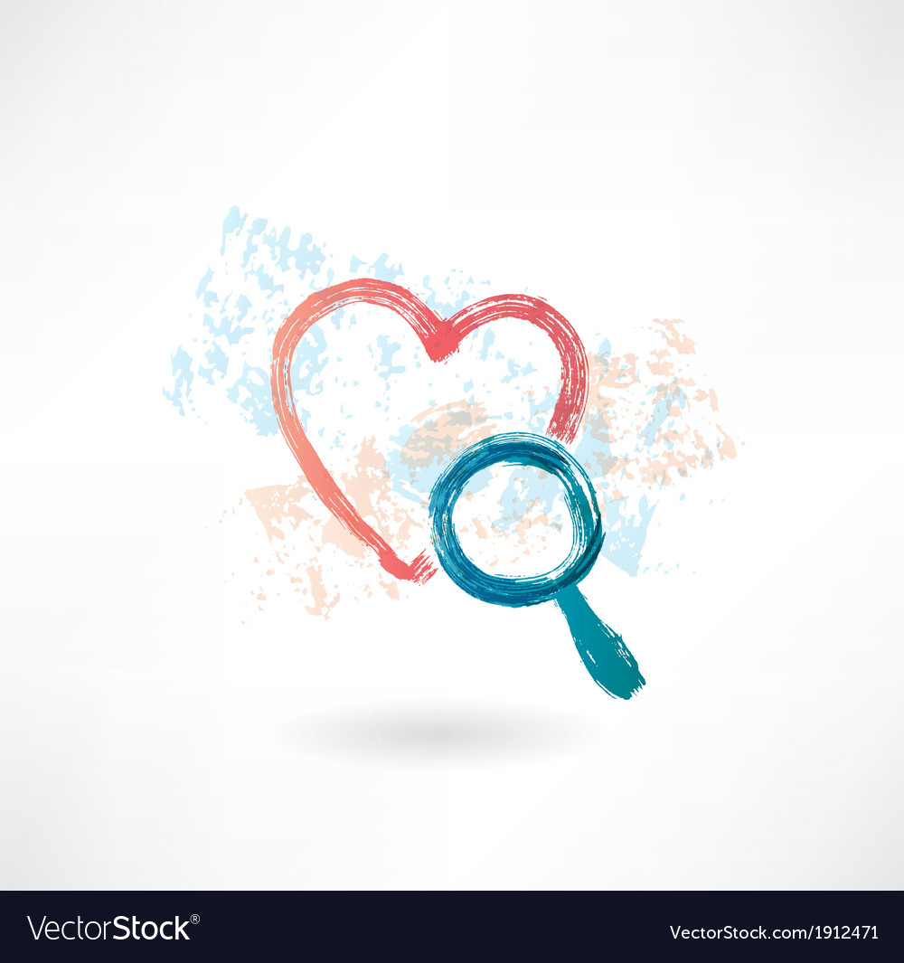 Heart magnifier grunge icon vector | Price: 1 Credit (USD $1)