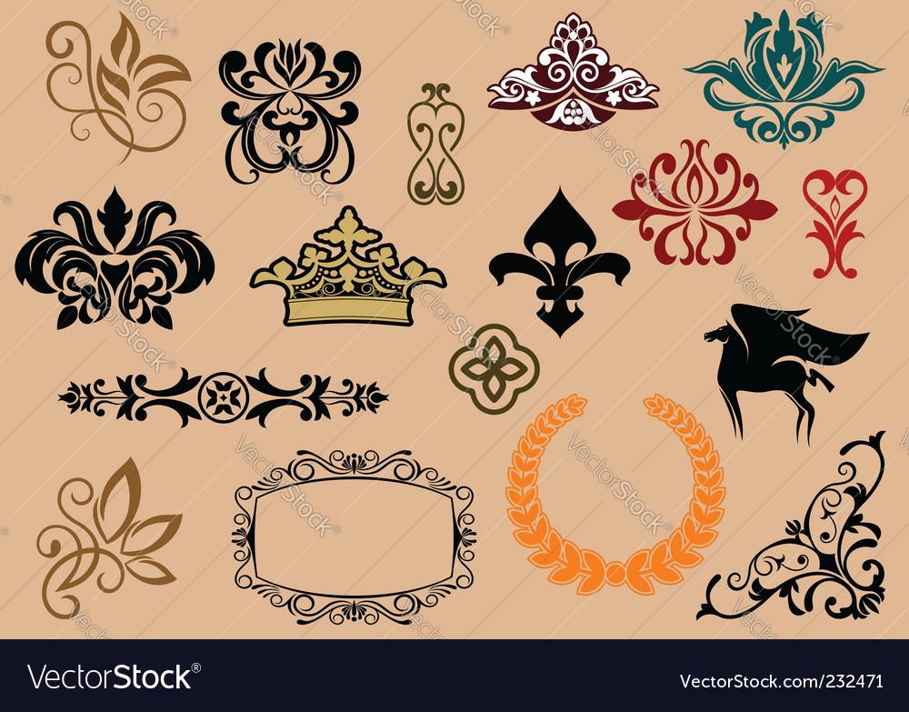 Heraldic elements vector | Price: 1 Credit (USD $1)