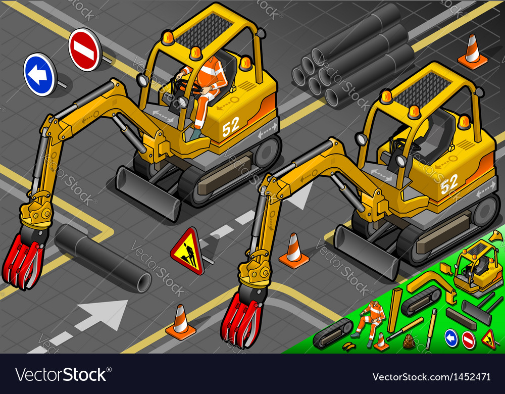 Isometric mini mechanical arm excavator in front vector | Price: 1 Credit (USD $1)