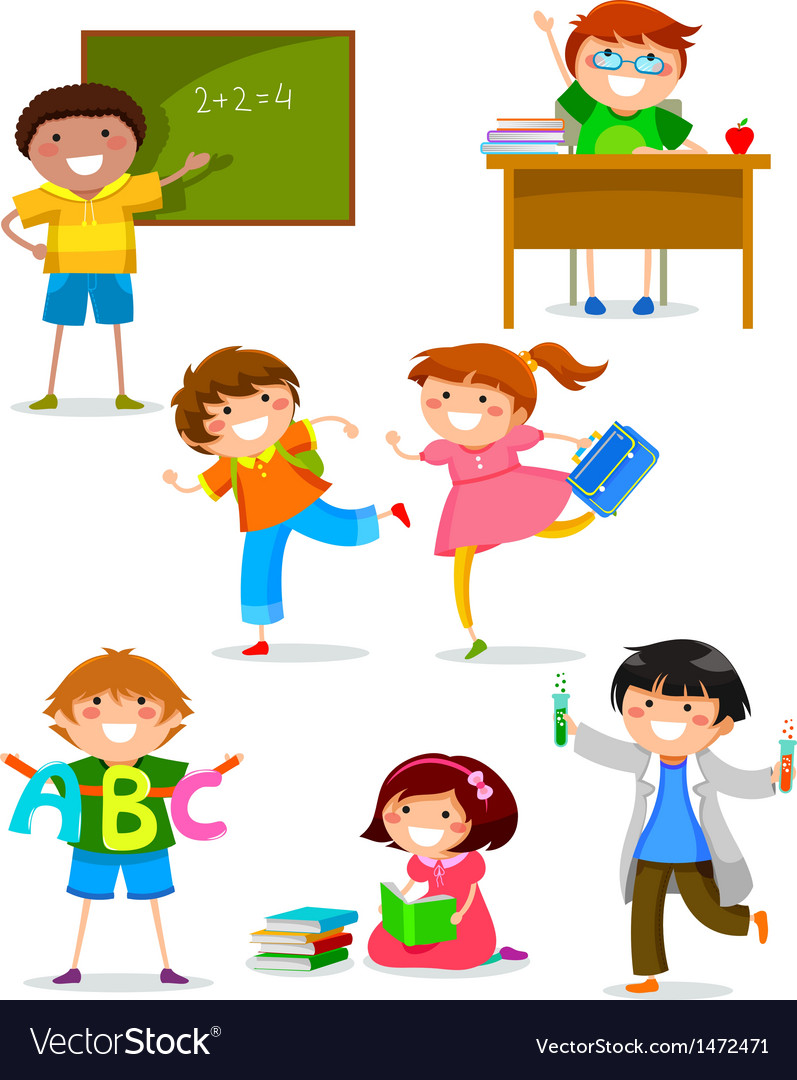 Kids at school vector | Price: 3 Credit (USD $3)