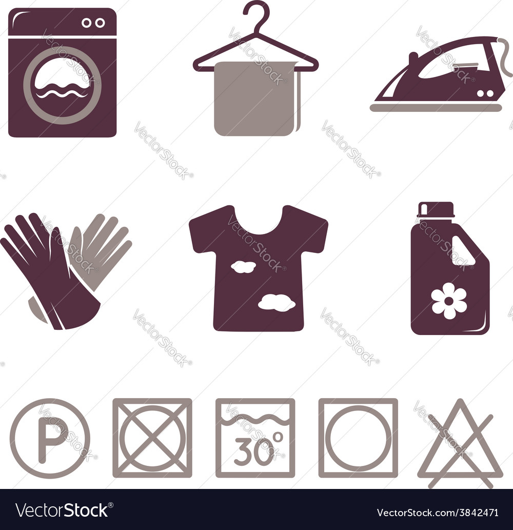 Laundry icons set vector | Price: 1 Credit (USD $1)