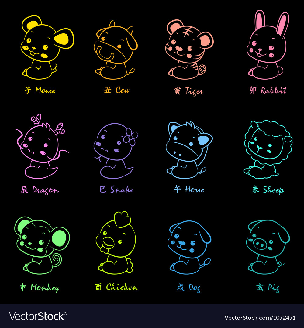 Neon sign effect 12 zodiac animal mascot the east vector | Price: 1 Credit (USD $1)
