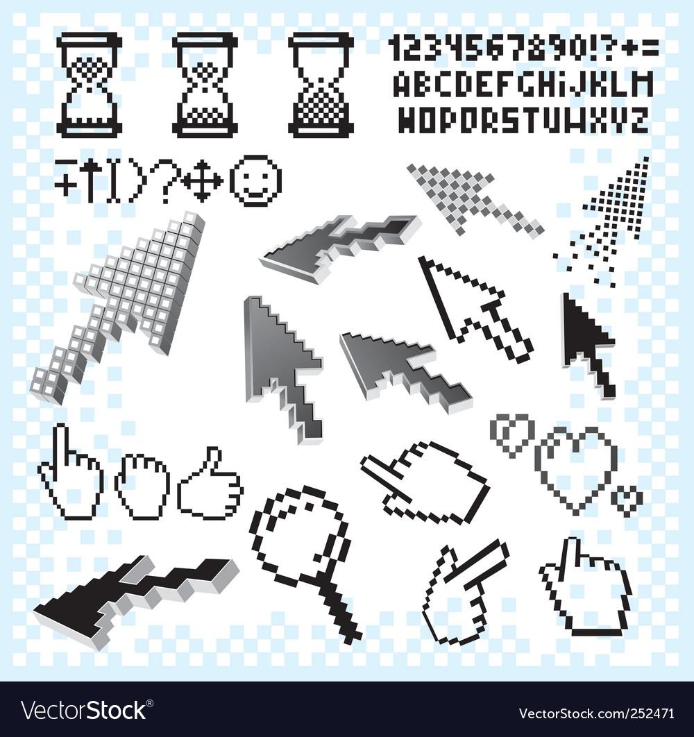 Pixilated symbols vector | Price: 3 Credit (USD $3)
