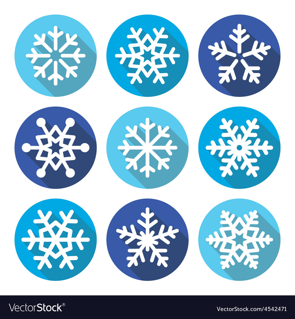 Snowflakes christmas flat design round icons vector | Price: 1 Credit (USD $1)