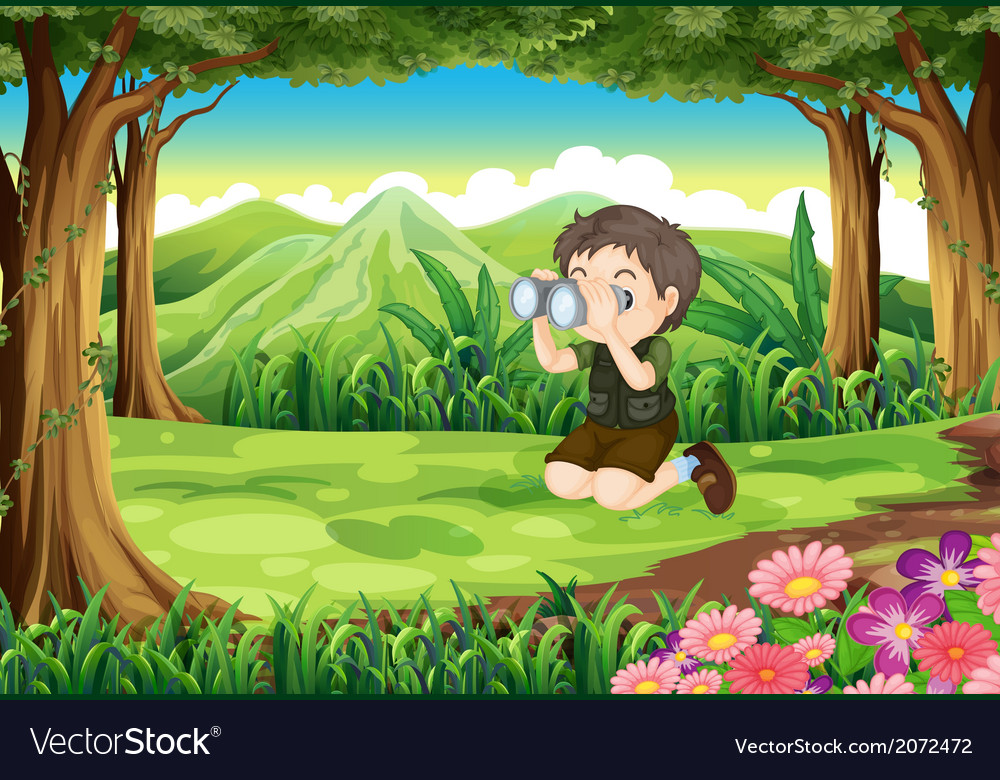 A boy at the forest with a telescope vector | Price: 3 Credit (USD $3)