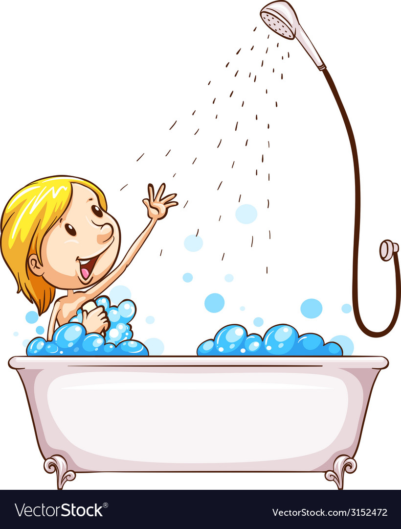 A girl enjoying the shower vector | Price: 1 Credit (USD $1)