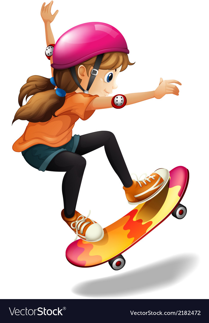 A girl skateboarding vector | Price: 1 Credit (USD $1)