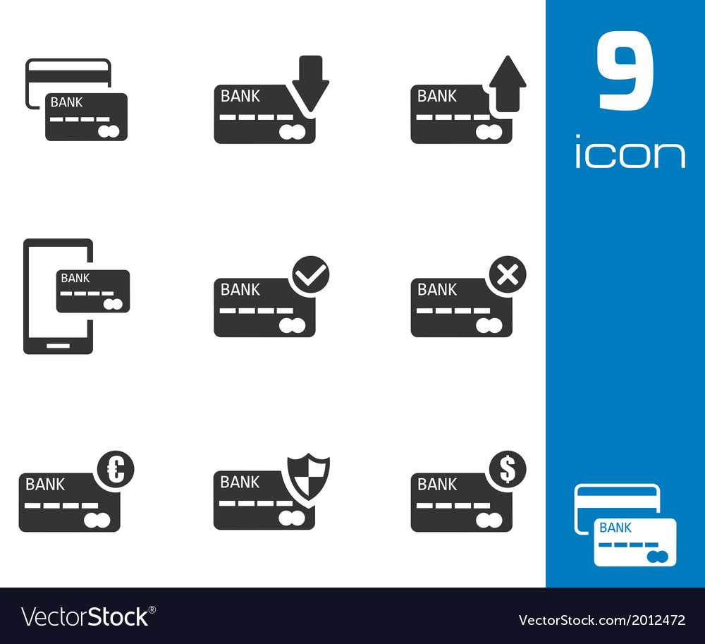 Black credit card icons set vector | Price: 1 Credit (USD $1)
