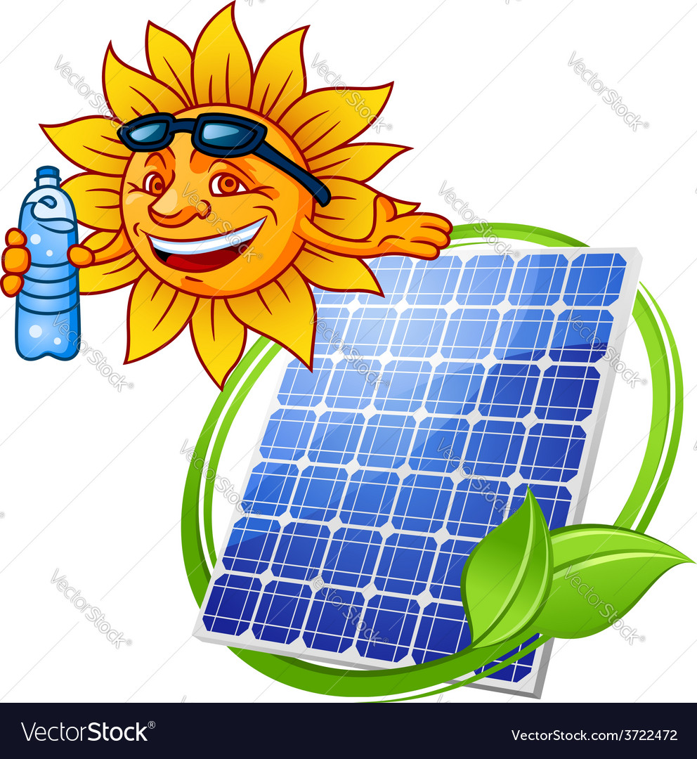 Cartoon solar panel with sun vector | Price: 1 Credit (USD $1)