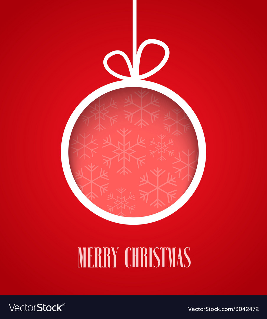Christmas paper card with hanging toy vector | Price: 1 Credit (USD $1)