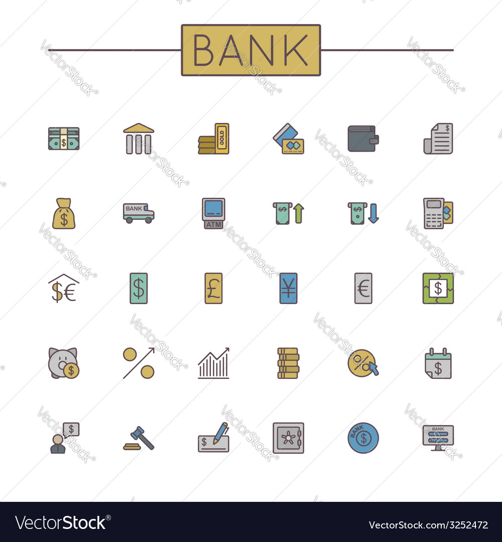 Colored bank line icons vector | Price: 1 Credit (USD $1)