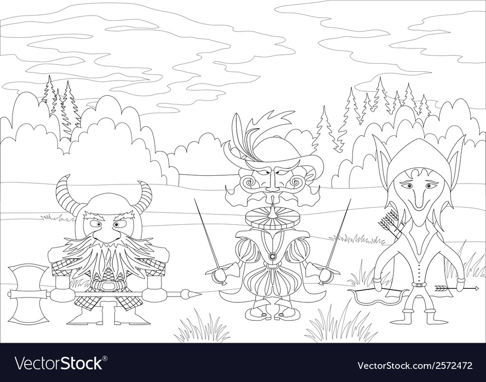 Fantasy heroes in forest contour vector | Price: 1 Credit (USD $1)