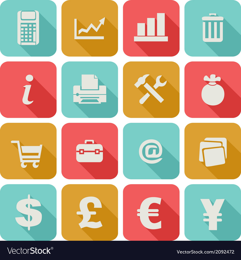 Long shadow flat icons set 4 vector   Price: 1 Credit (USD $1)