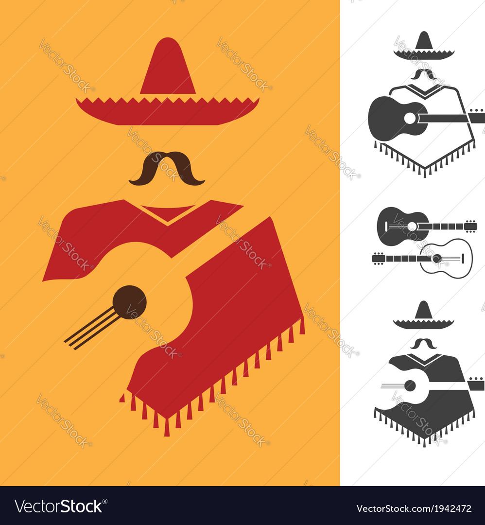 Mexican with guitar vector | Price: 1 Credit (USD $1)