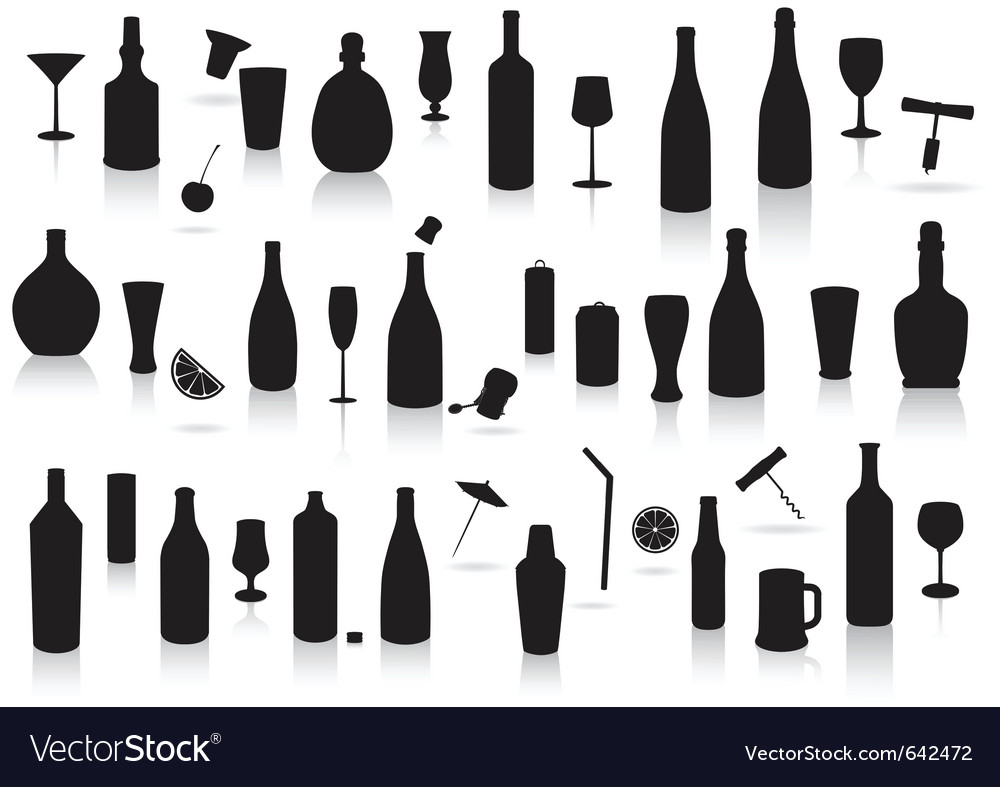 Party drinks silhouette set vector | Price: 1 Credit (USD $1)