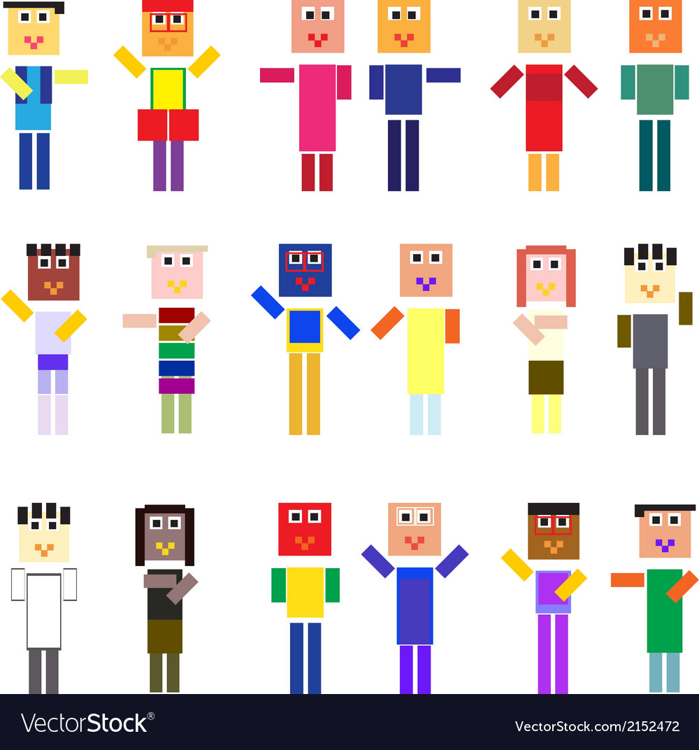 Pixelized people vector | Price: 1 Credit (USD $1)