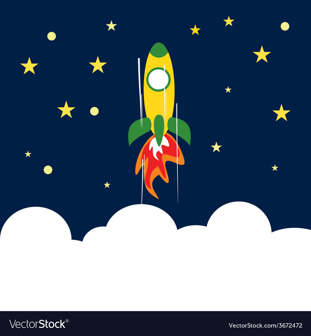 Rocket flying up to space concept of success vector | Price: 1 Credit (USD $1)