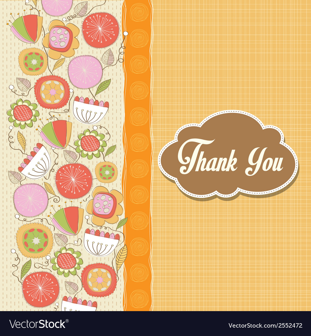Romantic thank you card with flowers vector | Price: 1 Credit (USD $1)