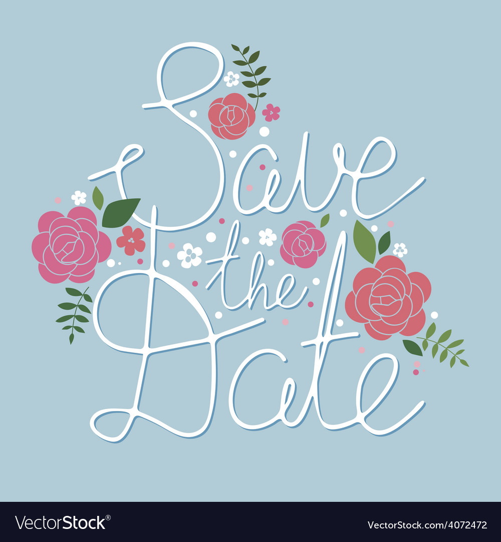 Save the date design with roses vector | Price: 1 Credit (USD $1)