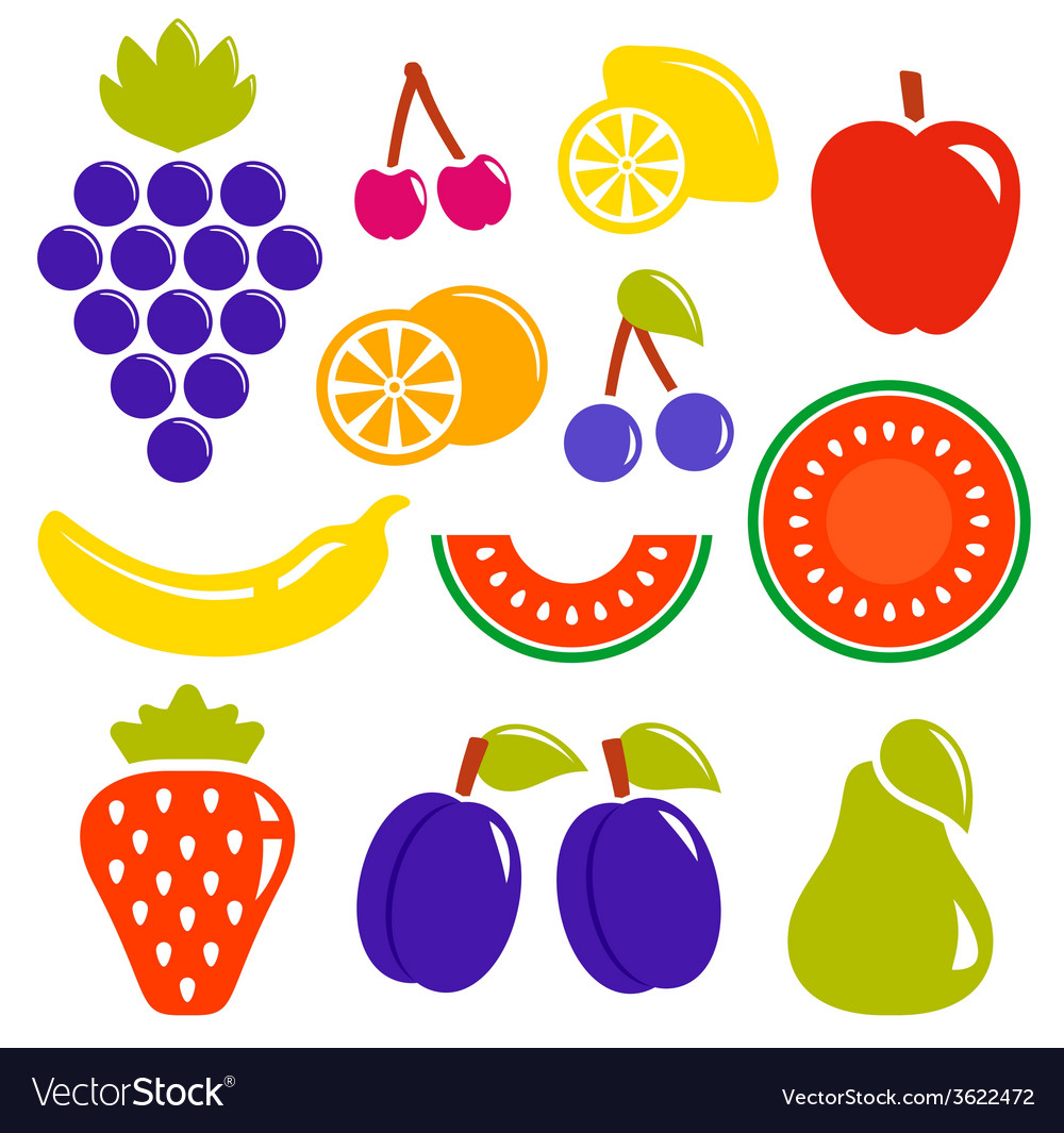Set isolated fruit icons vector | Price: 1 Credit (USD $1)