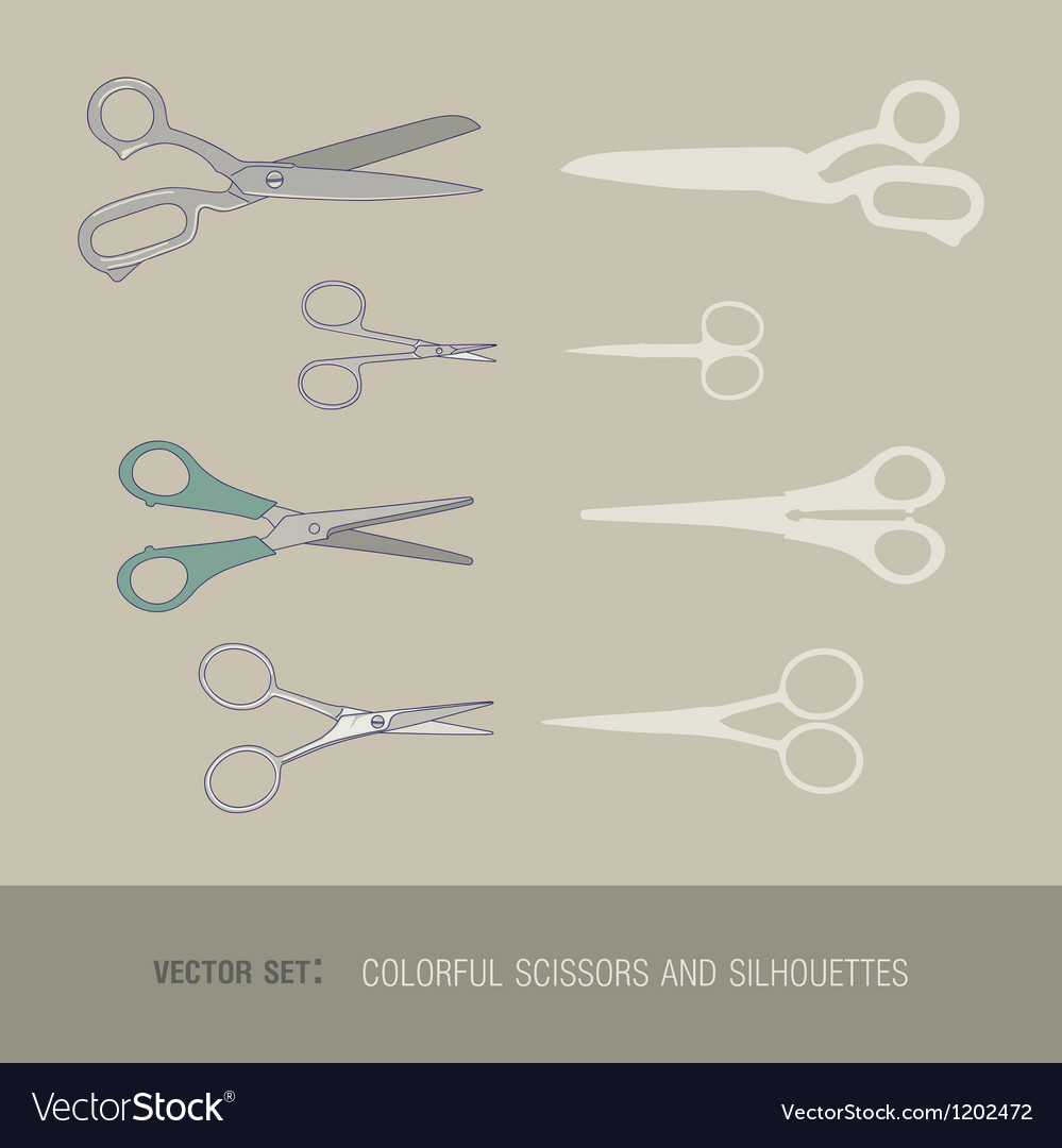 Set of colorful scissors and silhouettes vector | Price: 1 Credit (USD $1)
