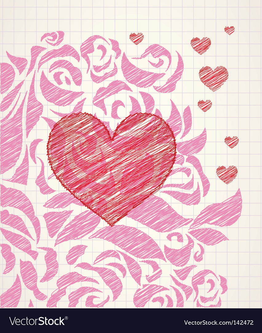 Sketchy heart and roses doodle vector | Price: 1 Credit (USD $1)