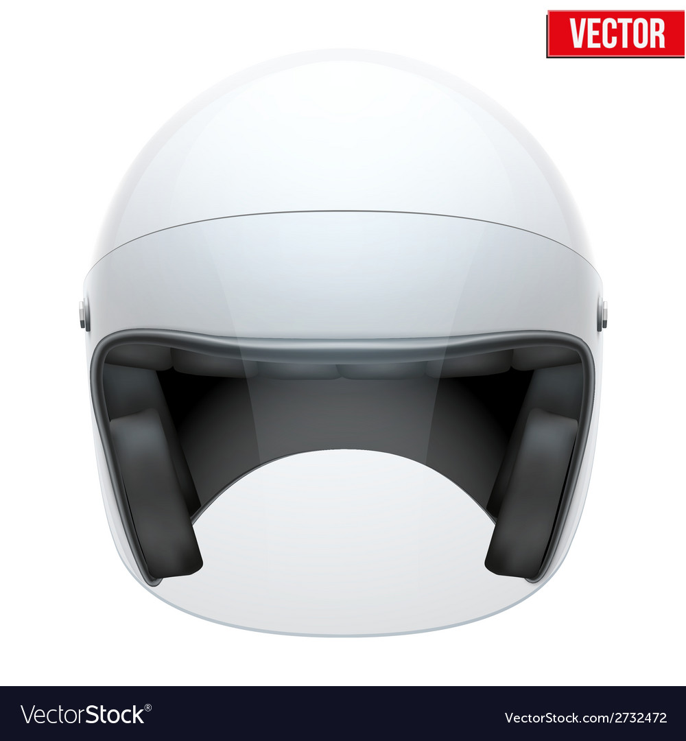 White motorbike classic helmet with clear glass vector | Price: 1 Credit (USD $1)