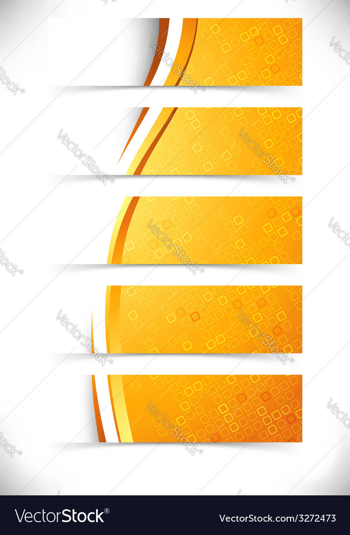Bright orange waves headers footers collection vector | Price: 1 Credit (USD $1)