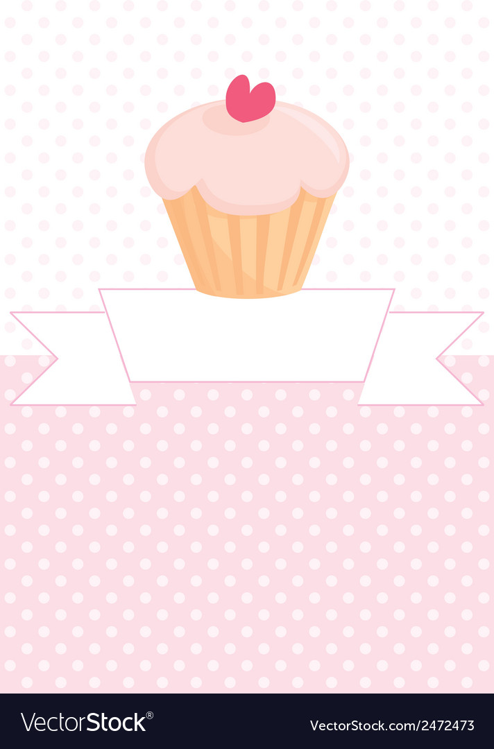 Decorated card with cupcake and pink polka dots vector | Price: 1 Credit (USD $1)