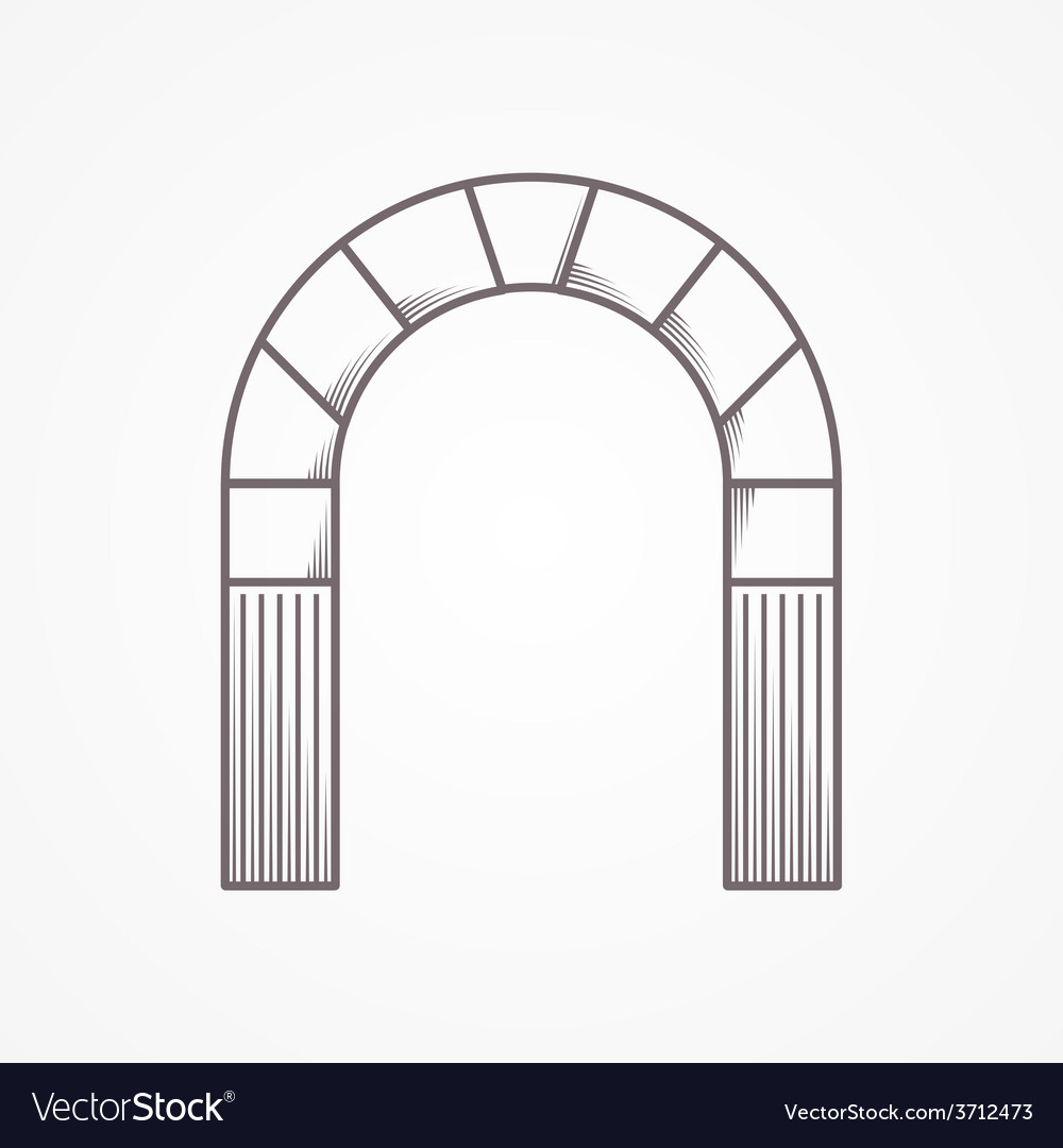 Flat line design round arch vector | Price: 1 Credit (USD $1)