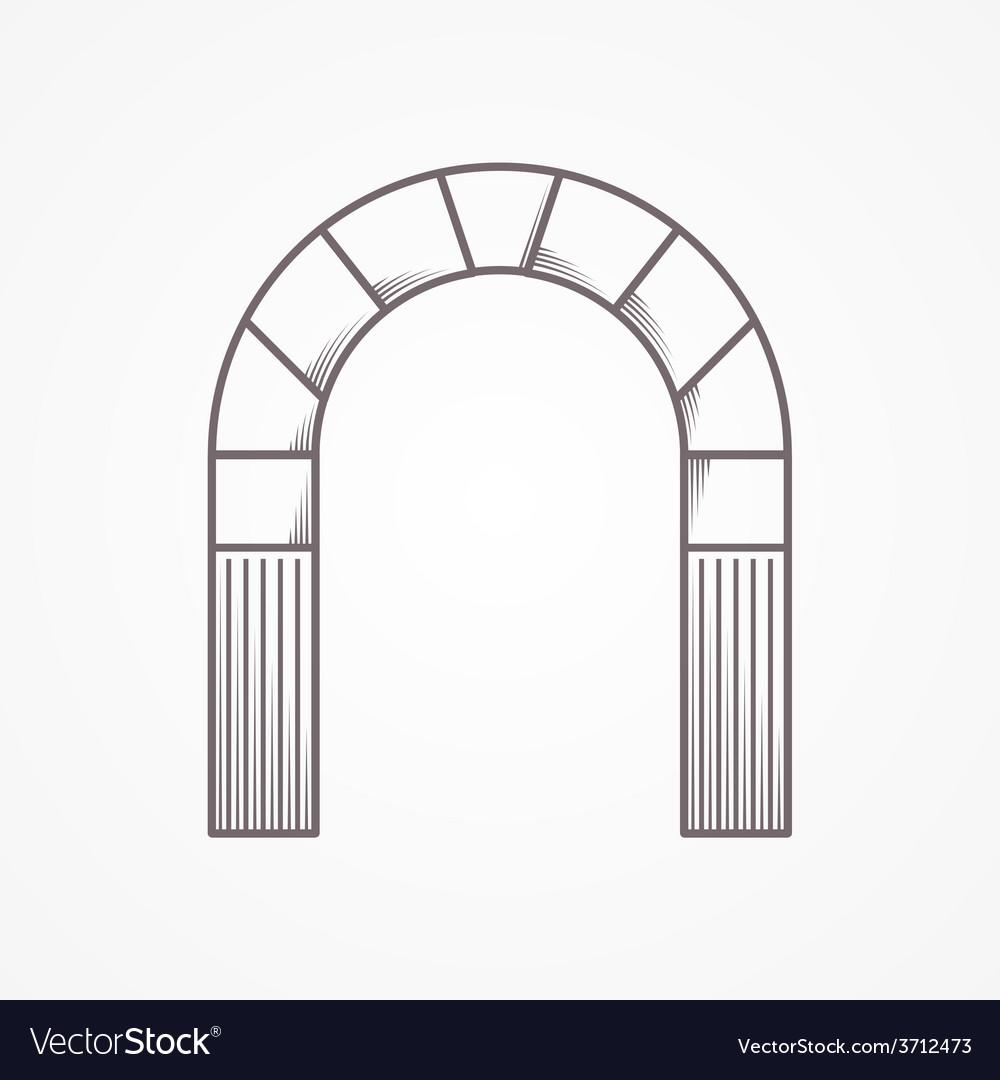 Flat line design round arch vector
