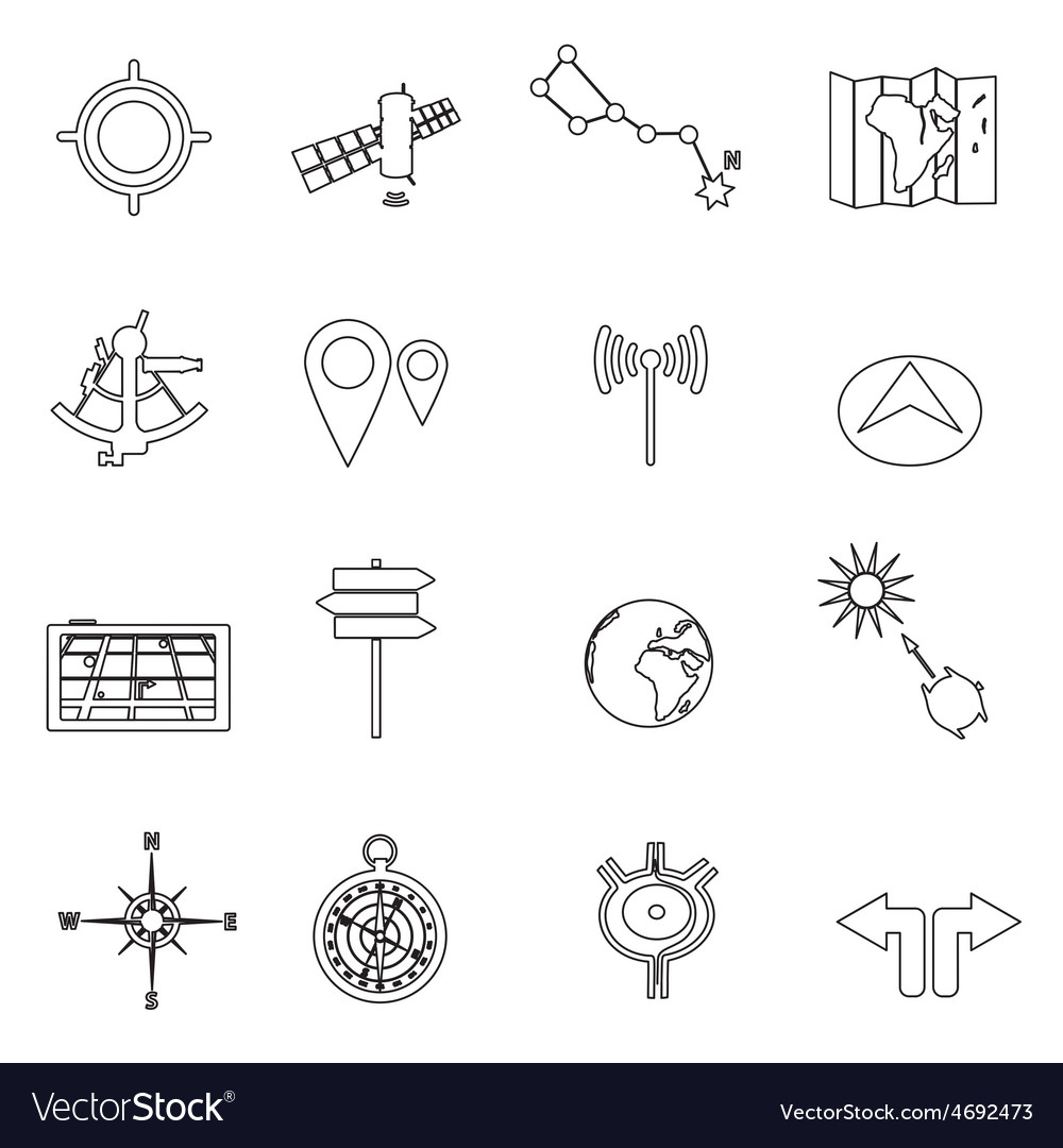 Navigation and travel outline icons set eps10 vector | Price: 1 Credit (USD $1)