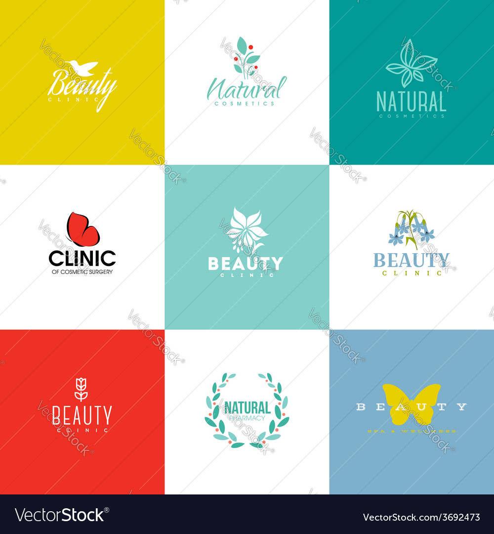 Set of beauty and nature logo templates and icons vector | Price: 1 Credit (USD $1)