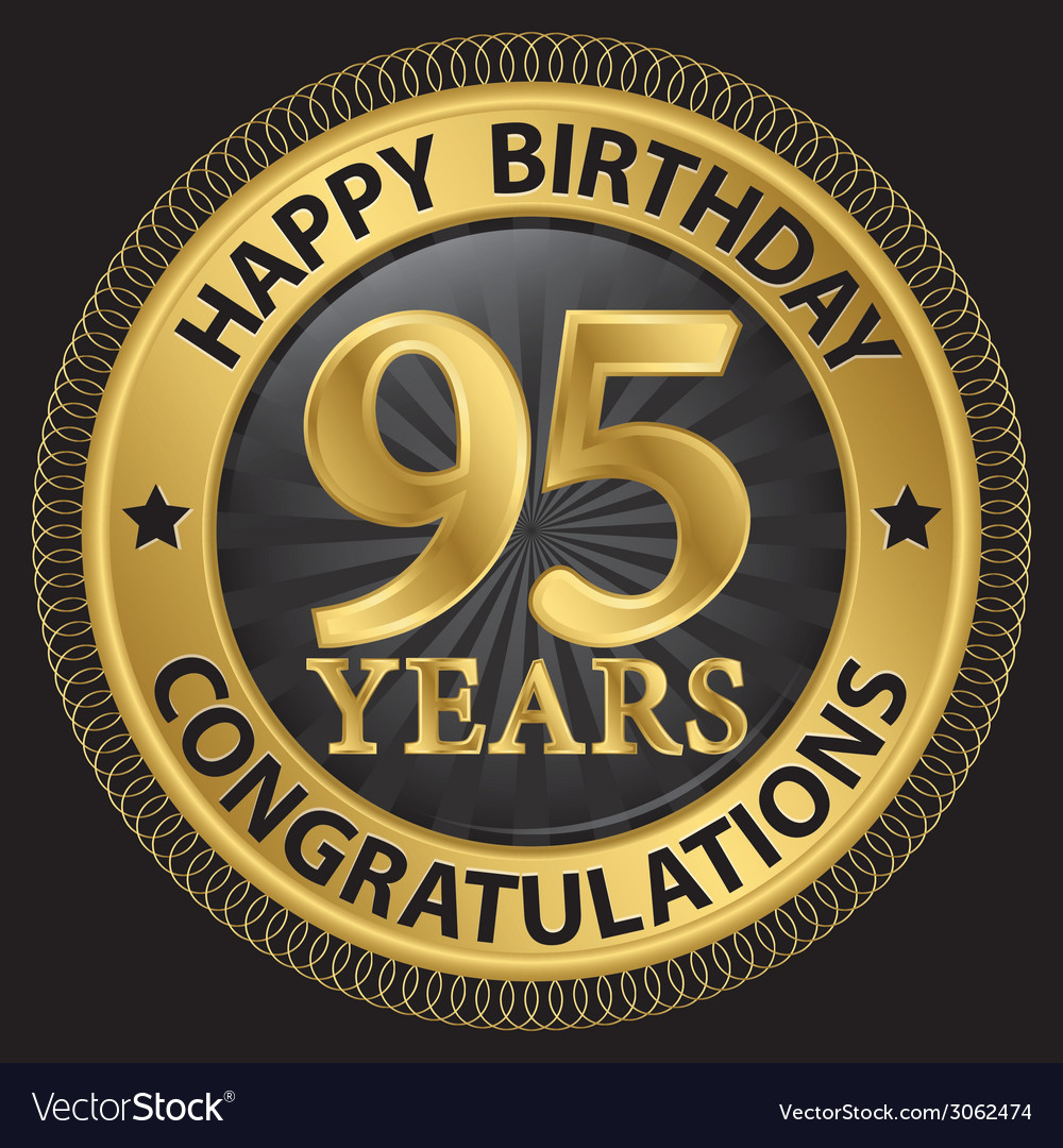 95 years happy birthday congratulations gold label vector | Price: 1 Credit (USD $1)