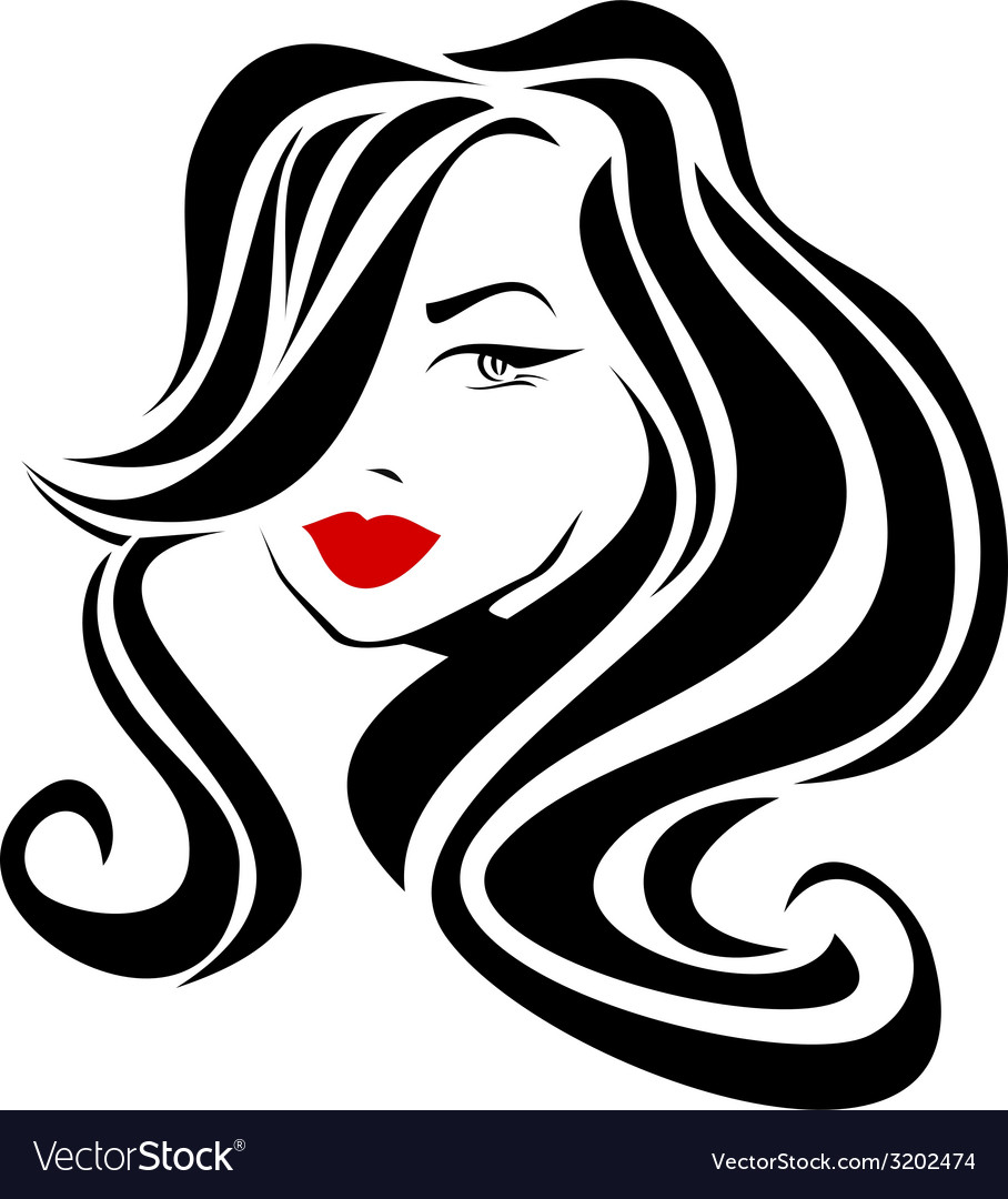 Beautiful girl with wavy hair and red lips vector | Price: 1 Credit (USD $1)