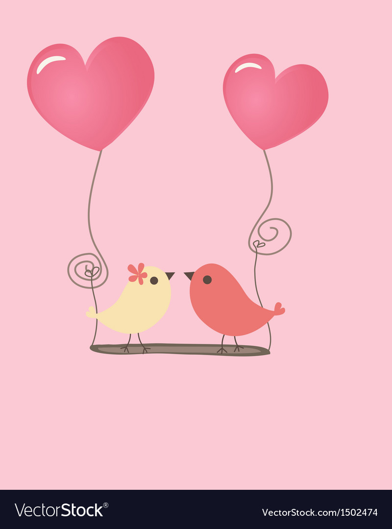 Birds couple in love vector | Price: 1 Credit (USD $1)