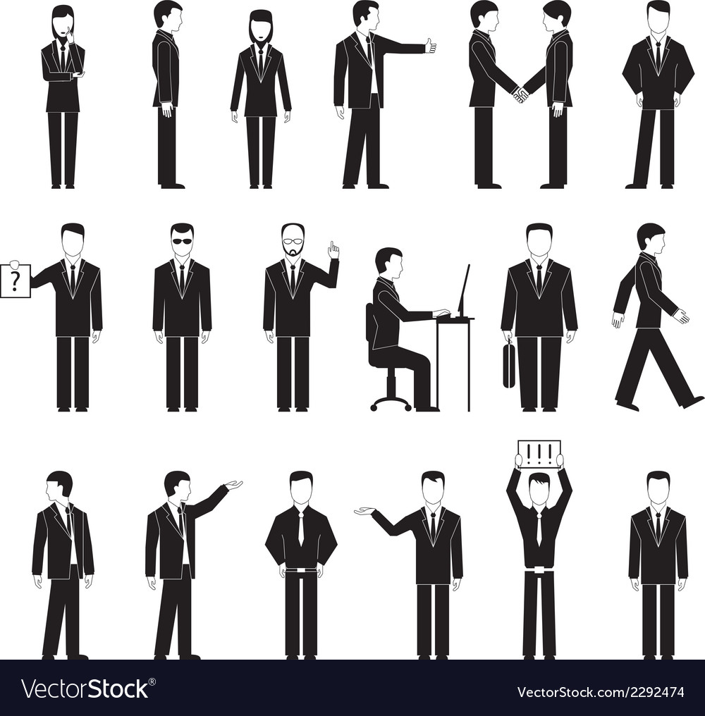 Business peoples silhouettes vector | Price: 1 Credit (USD $1)
