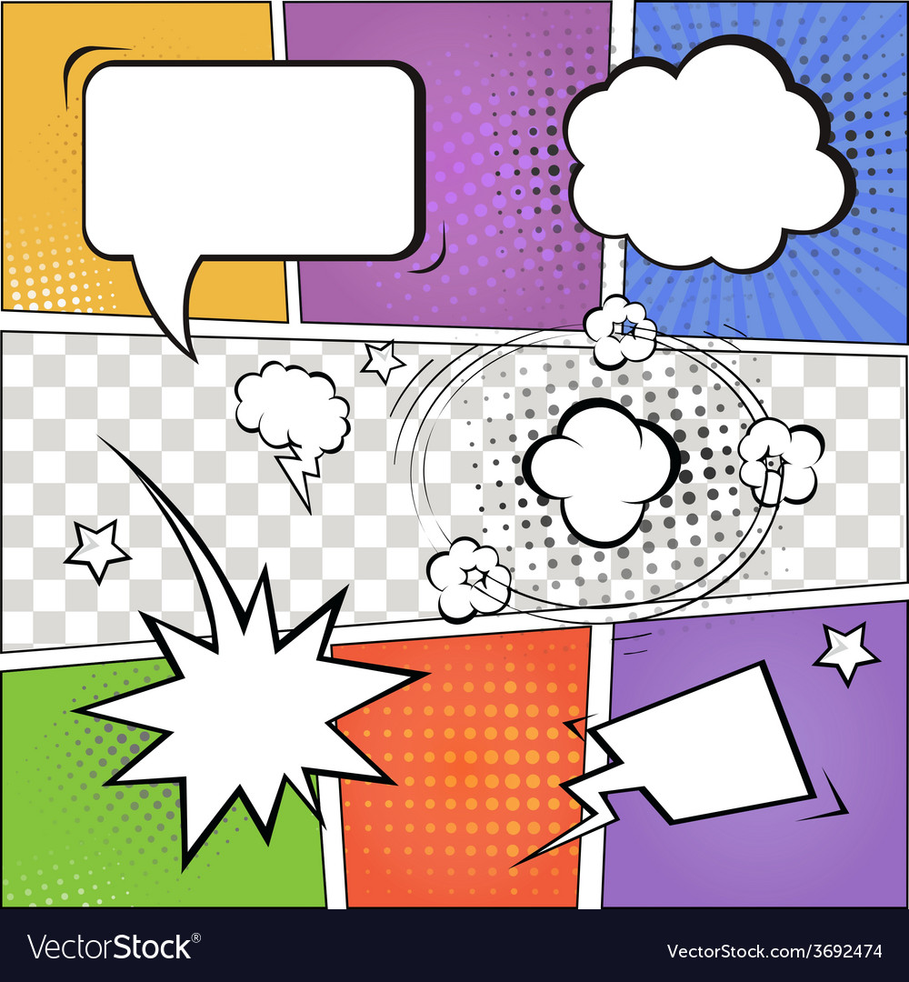 Comic speech bubbles and comic strip on colorful vector | Price: 1 Credit (USD $1)