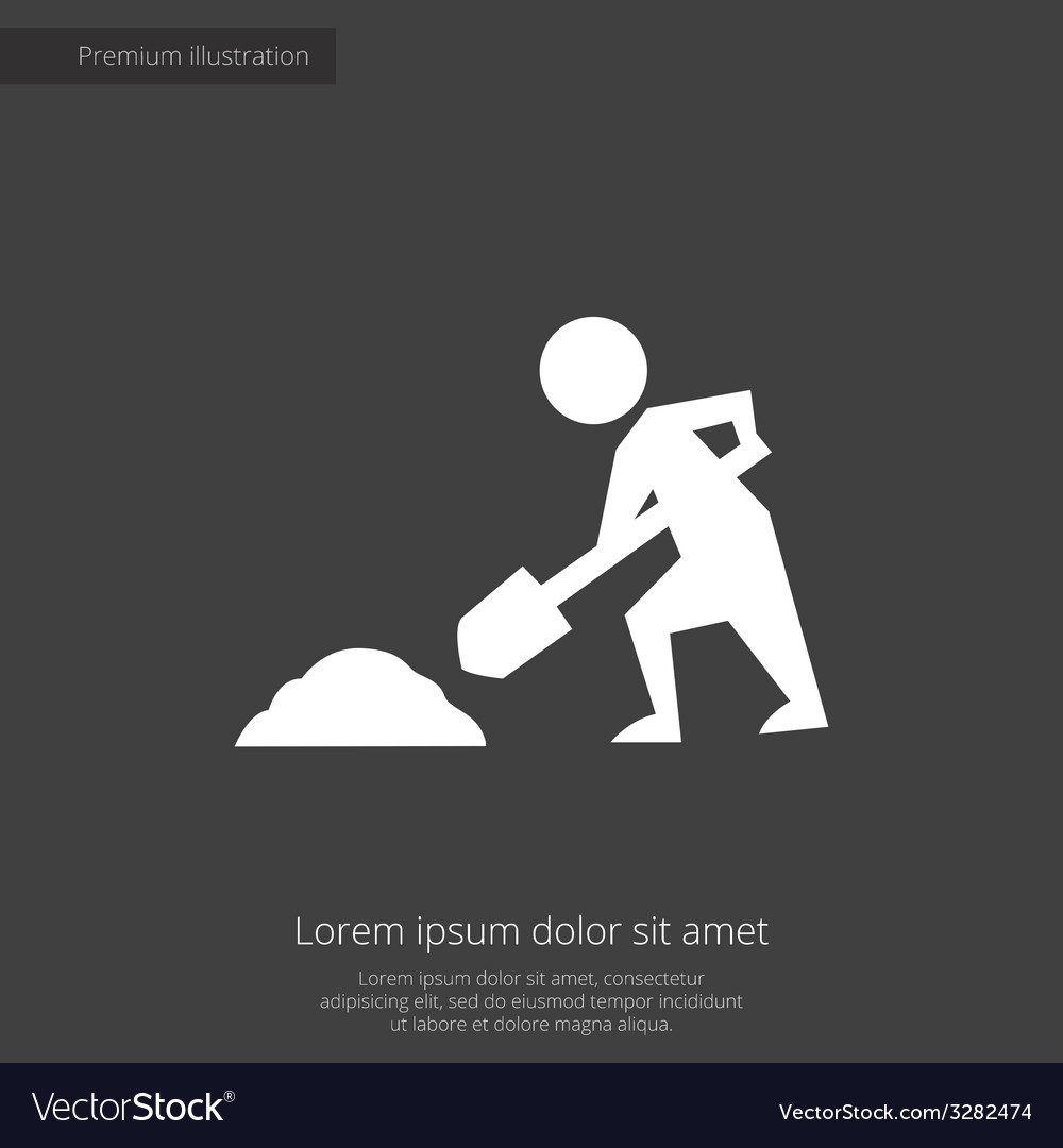 Construction works premium icon white on dark back vector | Price: 1 Credit (USD $1)