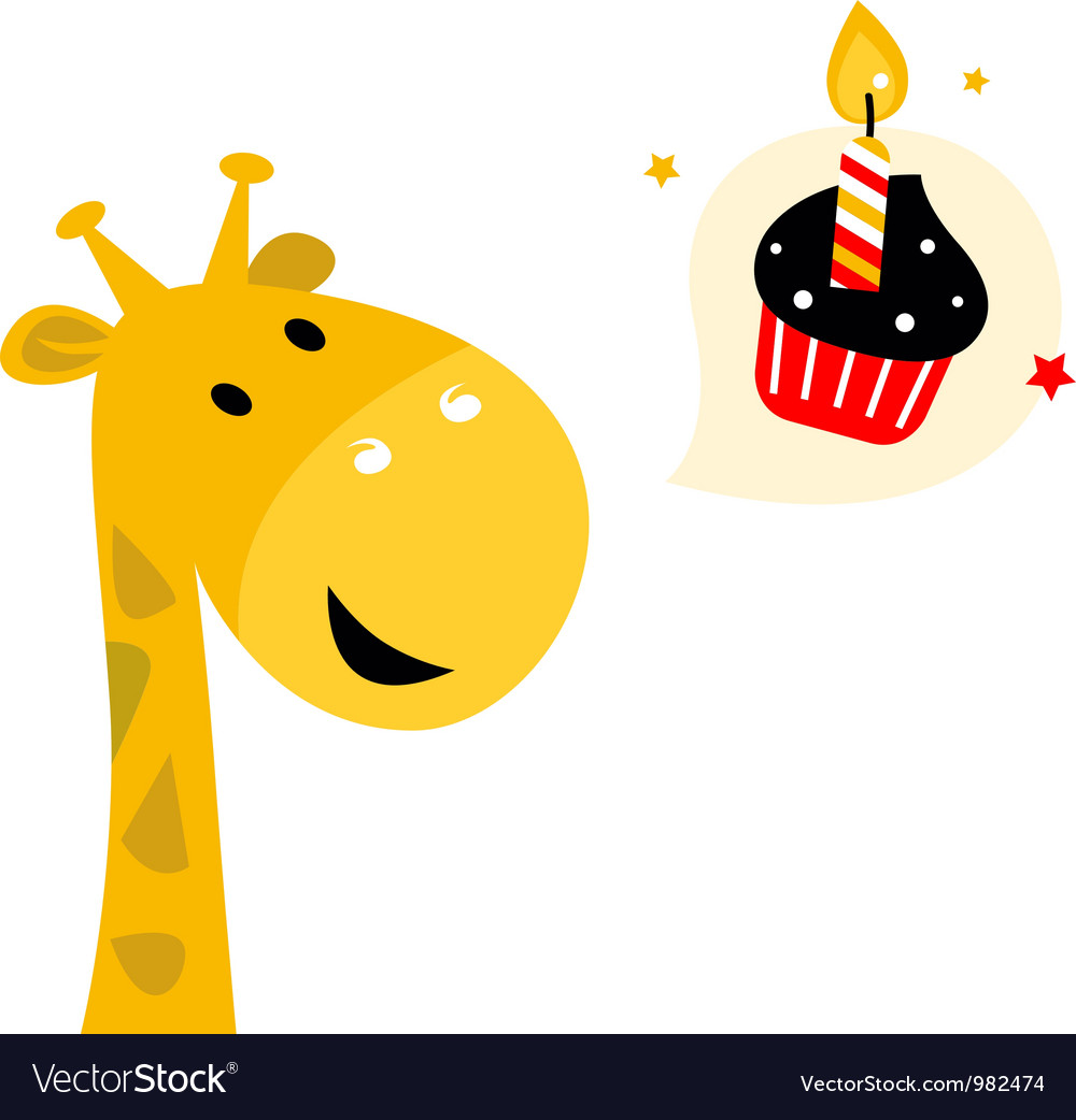 Cute party giraffe with cupcake isolated on white vector | Price: 1 Credit (USD $1)