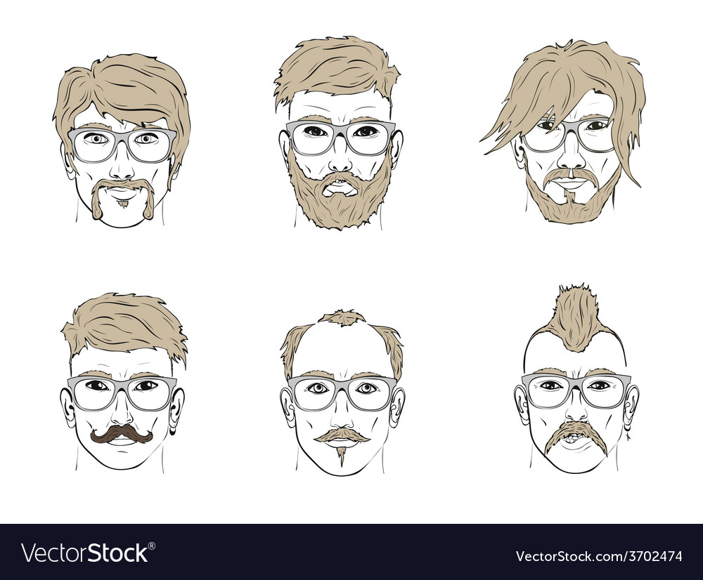 Hair and beard on the sketch vector | Price: 1 Credit (USD $1)