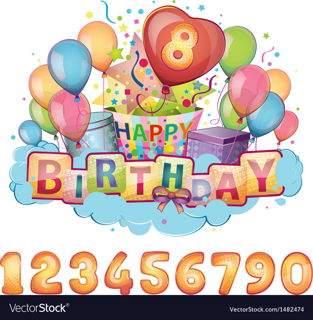 Happy birthday balloon set vector | Price: 3 Credit (USD $3)
