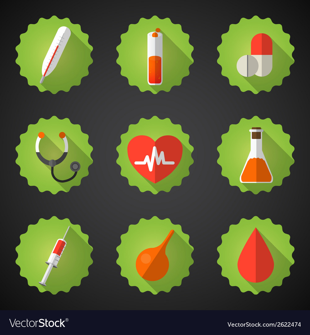 Medical flat icon set include heart blood drop vector | Price: 1 Credit (USD $1)