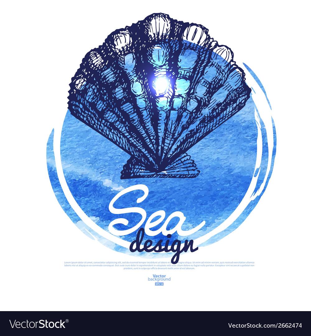 Seashell banner sea nautical design vector | Price: 1 Credit (USD $1)