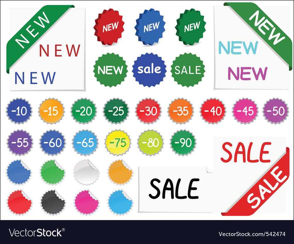 set of tags for discount prices vector | Price: 1 Credit (USD $1)