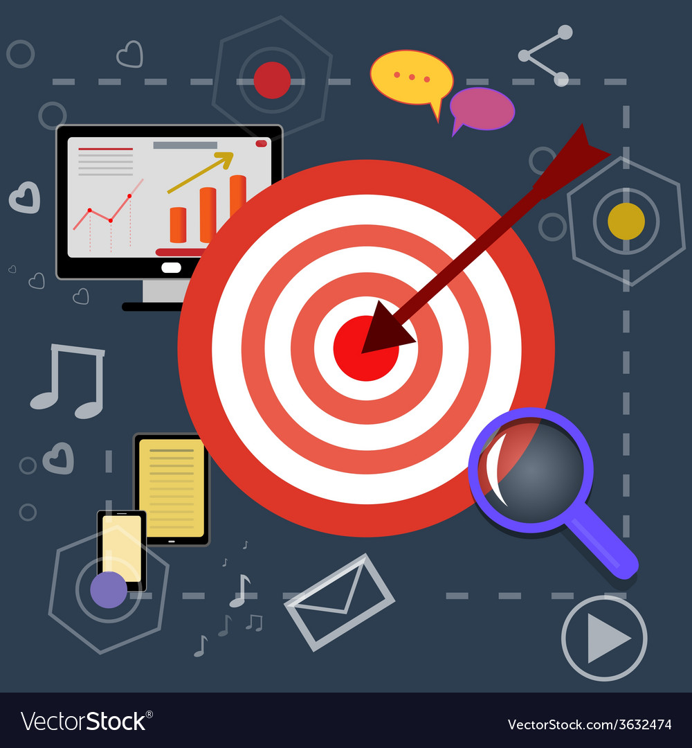 Strategy planning icons with bright pictures vector | Price: 1 Credit (USD $1)