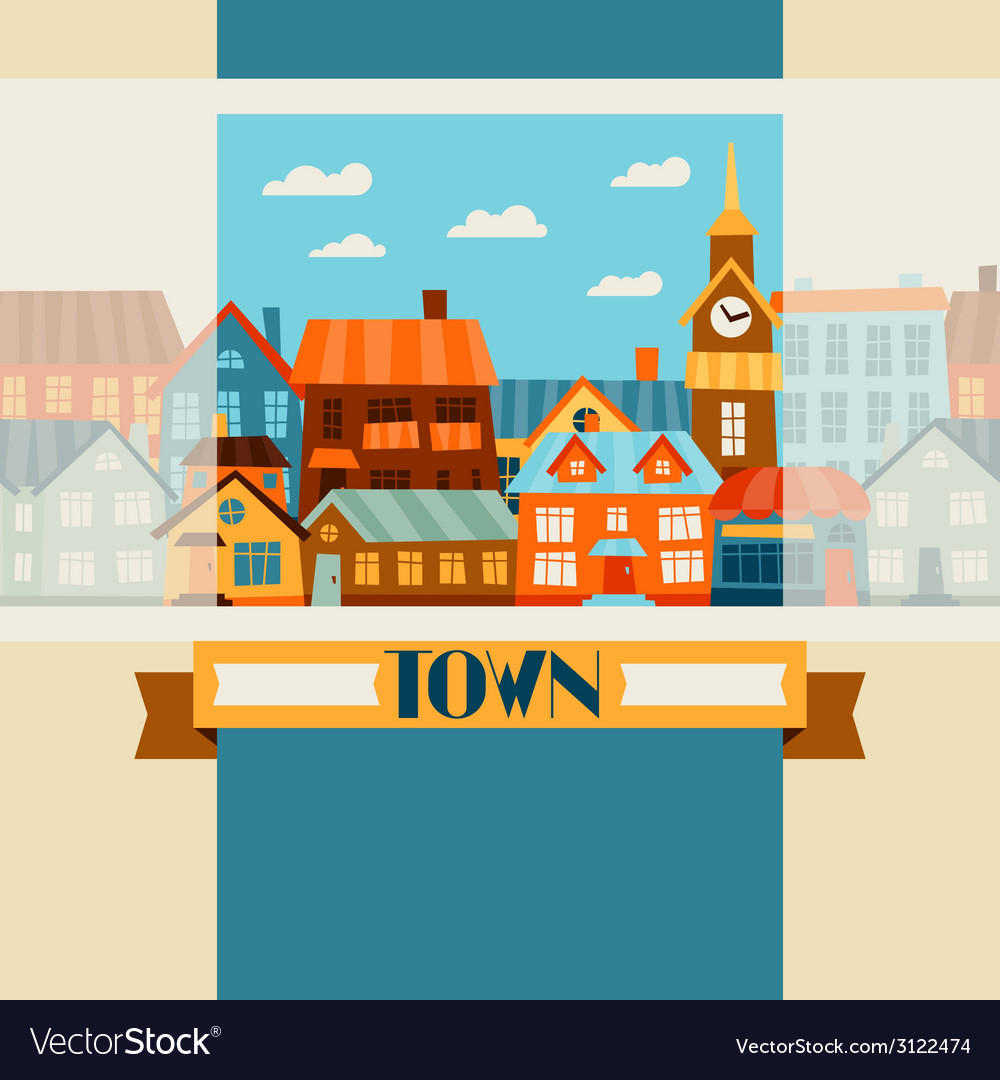 Town background design with cute colorful houses vector | Price: 1 Credit (USD $1)