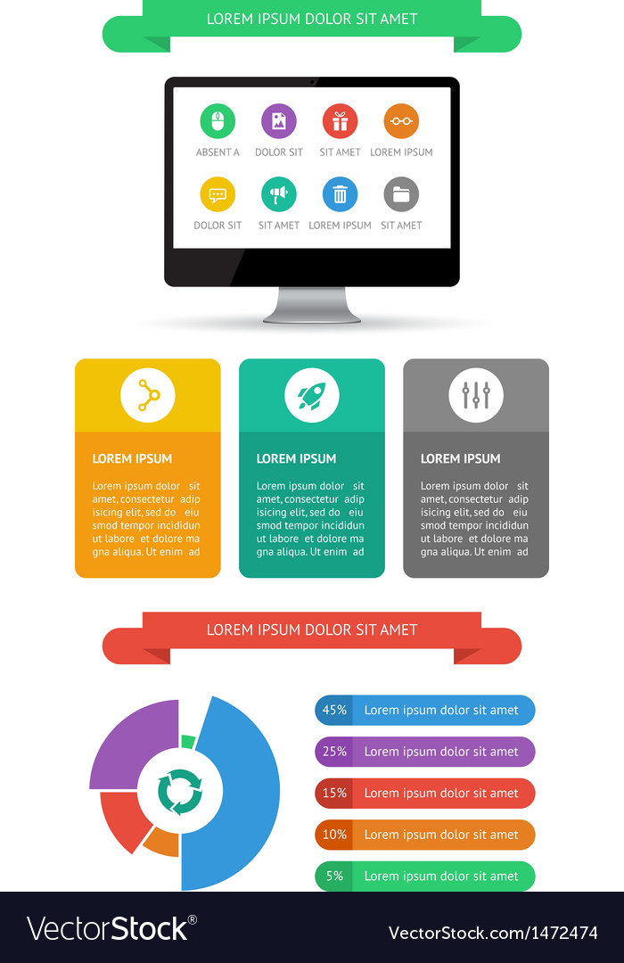 Ui infographics and web elements vector | Price: 1 Credit (USD $1)