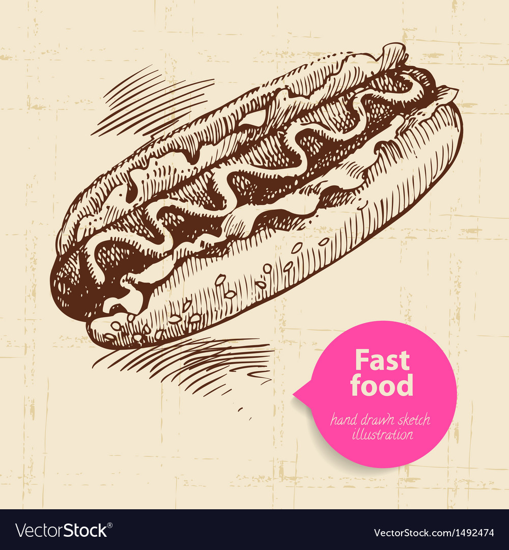 Vintage fast food background vector | Price: 1 Credit (USD $1)